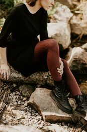 Naisten Rib Tights, Mahogany